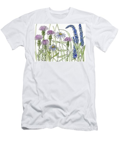 Thistle Asters Blue Flower Watercolor Wildflower Men's T-Shirt (Athletic Fit)