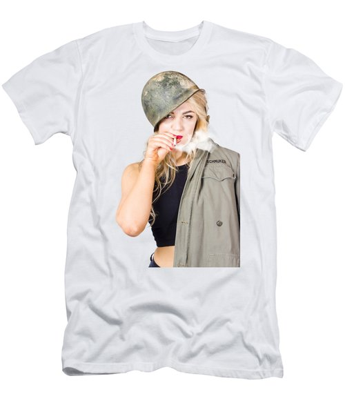 Tough And Determined Female Pin-up Soldier Smoking Men's T-Shirt (Athletic Fit)