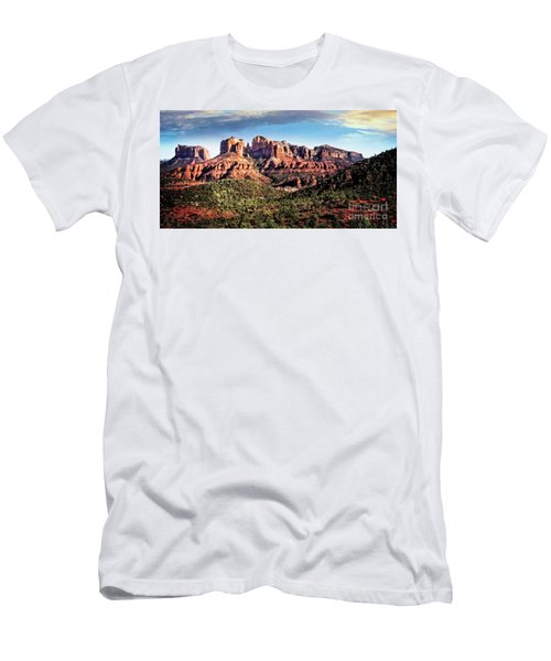Men's T-Shirt (Athletic Fit) featuring the photograph Towering Red Rocks by Scott Kemper