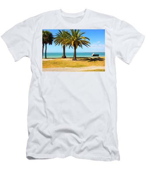 Tranquillity - Palm Trees And Sea Men's T-Shirt (Athletic Fit)