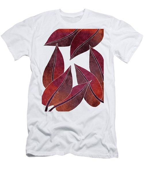 Tropical Leaf Illustration - Maroon, Red - Botanical Art - Floral Design - Modern, Minimal Decor Men's T-Shirt (Athletic Fit)