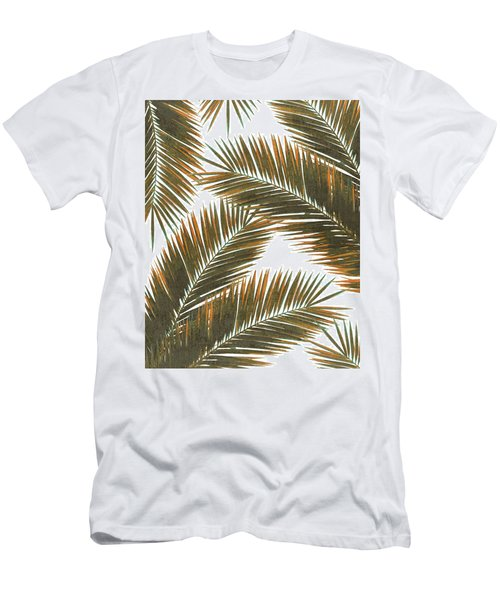 Tropical Palm Leaf Pattern 6 - Tropical Wall Art - Summer Vibes - Modern, Minimal - Brown, Copper Men's T-Shirt (Athletic Fit)
