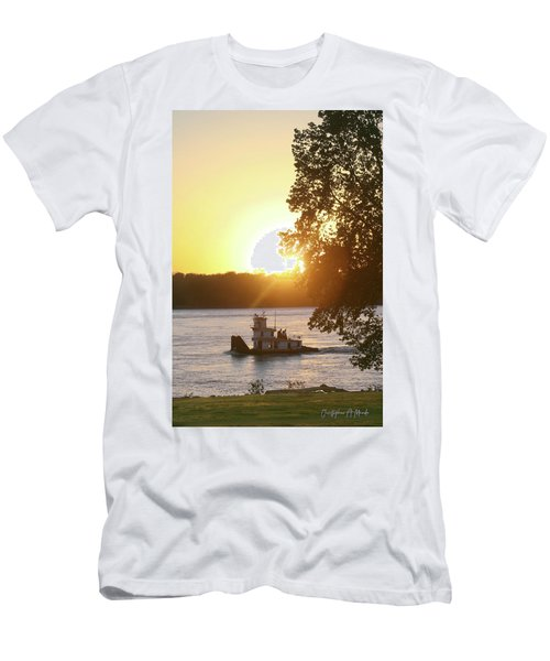 Tugboat On Mississippi River Men's T-Shirt (Athletic Fit)