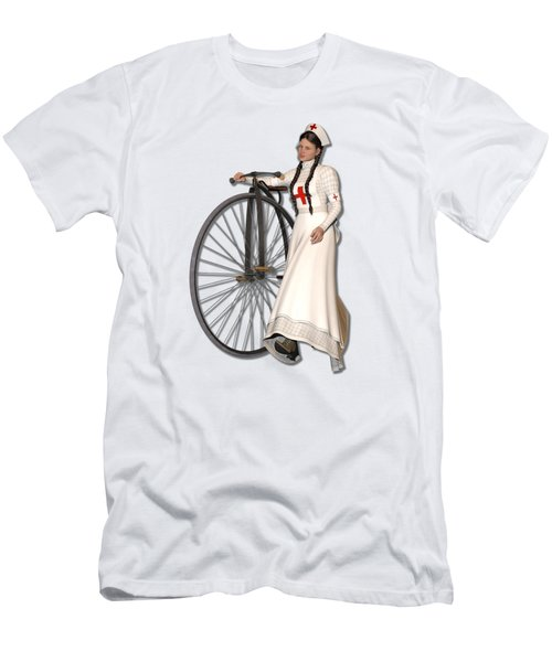 Victorian Nurse Along Penny Farthing Bicycle Men's T-Shirt (Athletic Fit)