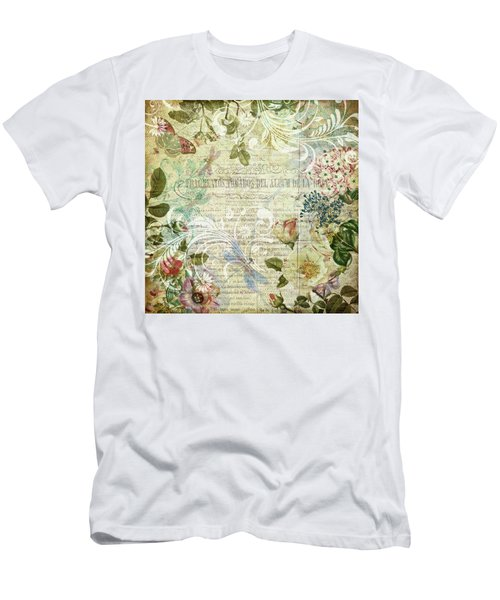 Vintage Botanical Illustration Collage Men's T-Shirt (Athletic Fit)