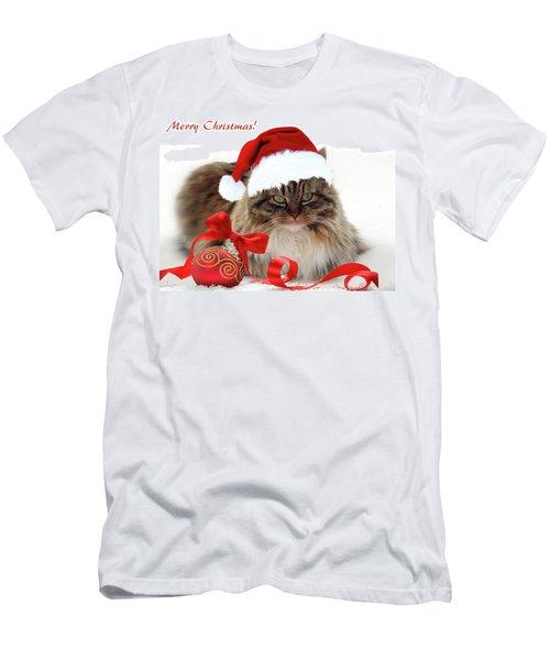 Merry Christmas Cat Men's T-Shirt (Athletic Fit)