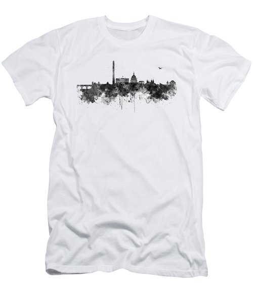 Washington Dc Skyline - Black And White Men's T-Shirt (Athletic Fit)