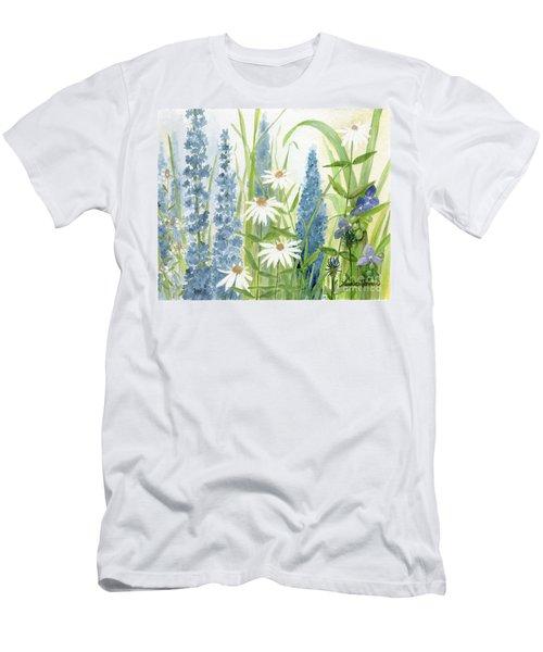 Watercolor Blue Flowers Men's T-Shirt (Athletic Fit)