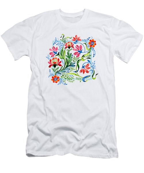 Watercolor Garden Folk Floral In Vintage Style Men's T-Shirt (Athletic Fit)