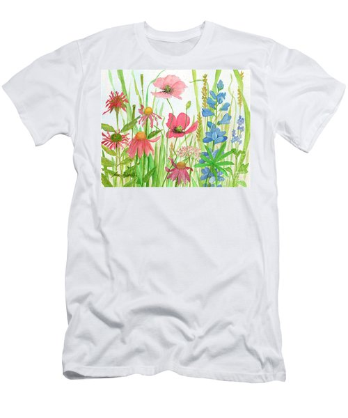 Watercolor Touch Of Blue Flowers Men's T-Shirt (Athletic Fit)