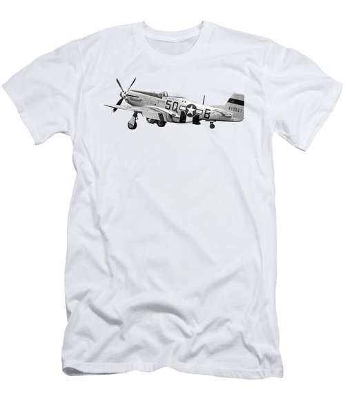 Well Earned Rest P-51 In Black And White Men's T-Shirt (Athletic Fit)
