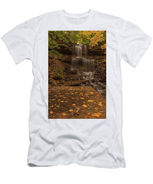 Men's T-Shirt (Athletic Fit) featuring the photograph West Milton Falls In Autumn by Dan Sproul
