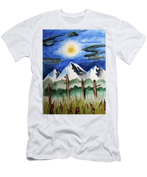 Wetlands With Mountains  Men's T-Shirt (Athletic Fit)