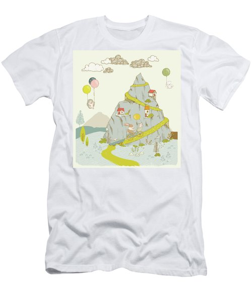 Men's T-Shirt (Athletic Fit) featuring the painting Whimsical Mountain And Animal Art For Kids by Matthias Hauser