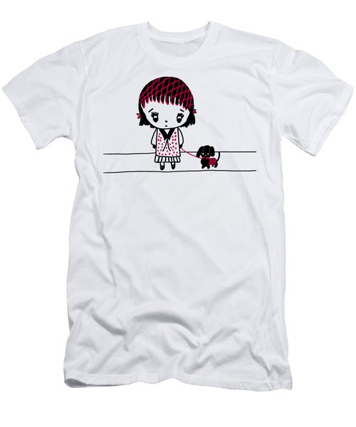 Whimsy Girl And Dog In Black And Red Men's T-Shirt (Athletic Fit)