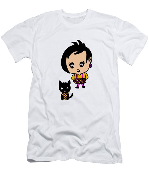 Whimsy Girl And Dog In Tartan Men's T-Shirt (Athletic Fit)
