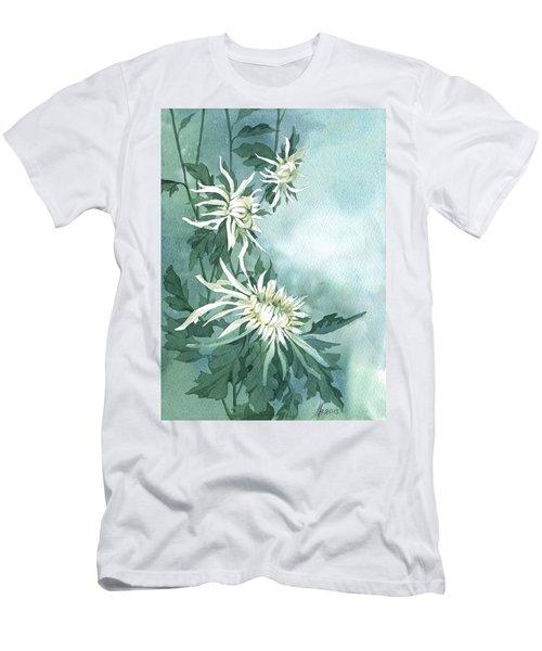 White Chrysanthemums Flowers Men's T-Shirt (Athletic Fit)