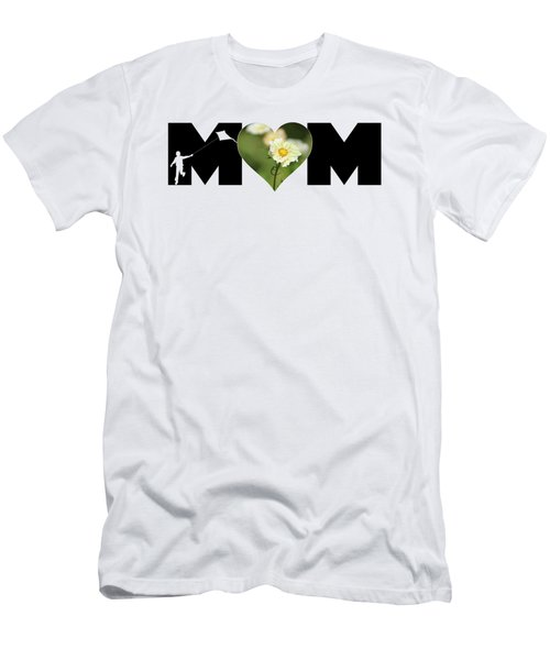 White Cosmos In Heart With Little Boy Mom Big Letter Men's T-Shirt (Athletic Fit)