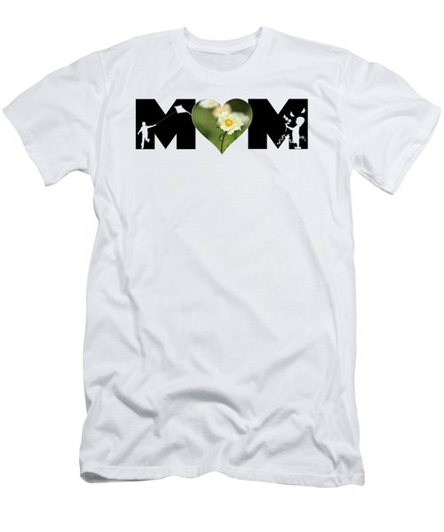 White Cosmos In Heart With Little Girl And Boy Mom Big Letter Men's T-Shirt (Athletic Fit)