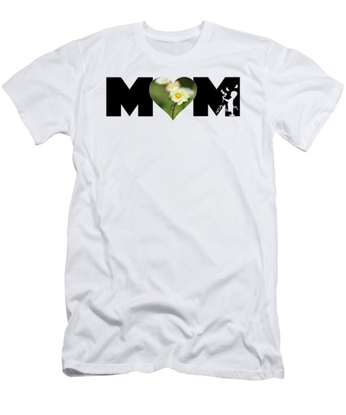 White Cosmos In Heart With Little Girl Mom Big Letter Men's T-Shirt (Athletic Fit)