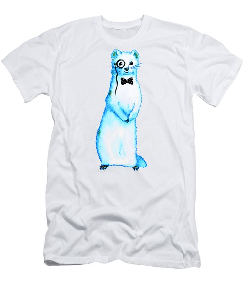 White Ferret Hipster With Monocle And Bow Tie / Watercolor Drawing Men's T-Shirt (Athletic Fit)