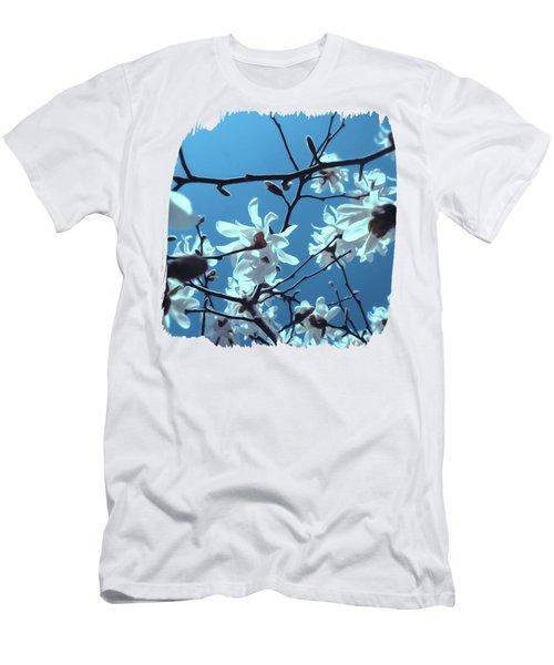 White Magnolia Bloom Blue Sky Men's T-Shirt (Athletic Fit)