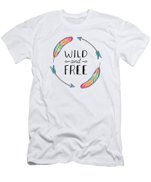 Wild And Free Colorful Feathers - Boho Chic Ethnic Nursery Art Poster Print Men's T-Shirt (Athletic Fit)