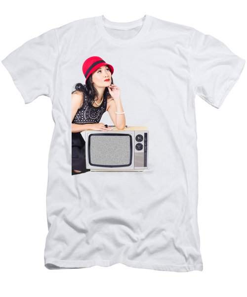 Woman On Retro Tv. Fifties Copyspace Broadcast Men's T-Shirt (Athletic Fit)