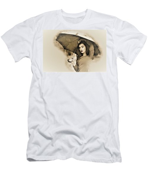 Woman With A Umbrella Men's T-Shirt (Athletic Fit)