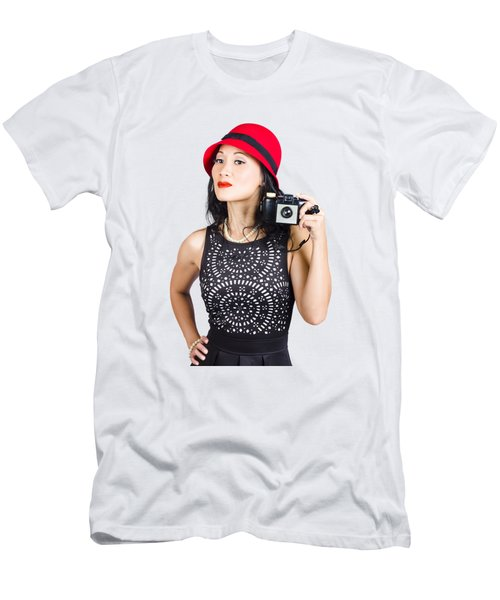 Woman With An Old Camera Men's T-Shirt (Athletic Fit)