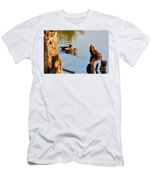 Men's T-Shirt (Athletic Fit) featuring the photograph Wood Ducks by Debbie Stahre