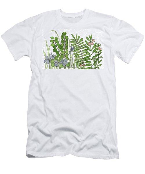 Woodland Ferns Violets Nature Illustration Men's T-Shirt (Athletic Fit)