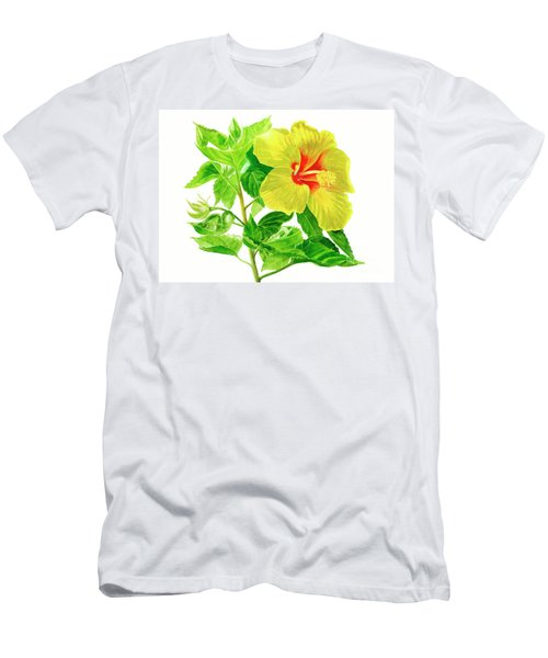 Yellow Hibiscus Flower Men's T-Shirt (Athletic Fit)