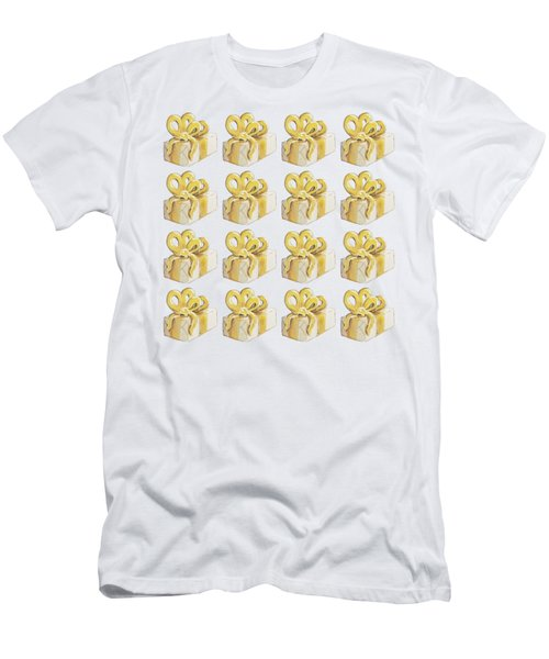 Men's T-Shirt (Athletic Fit) featuring the painting Yellow Presents Pattern by Maria Langgle