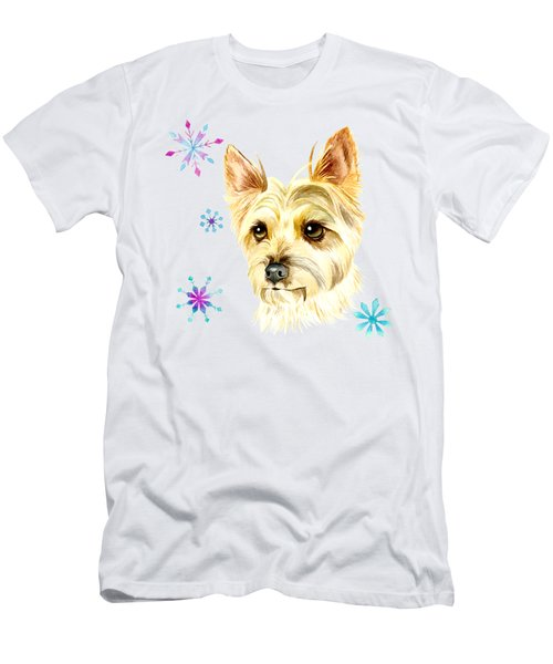Yorkie Dog And Snowflakes Men's T-Shirt (Athletic Fit)