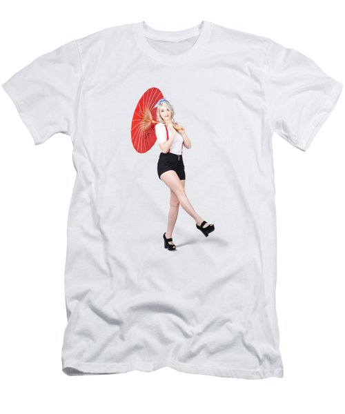 Young Beautiful Pin Up Woman Posing With Umbrella Men's T-Shirt (Athletic Fit)