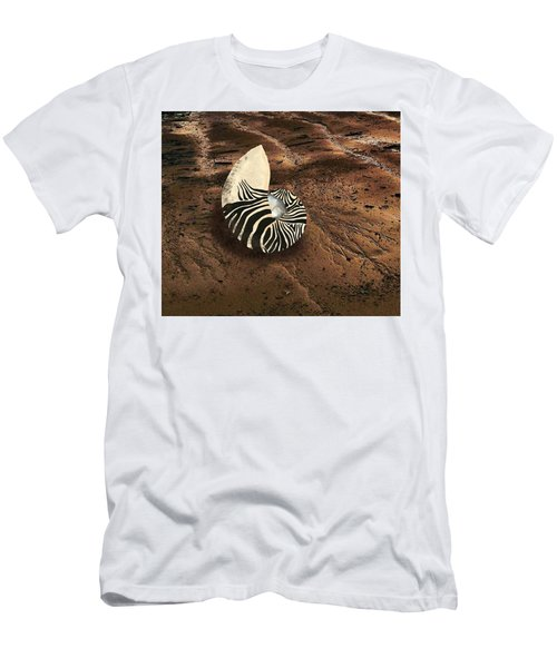 Men's T-Shirt (Athletic Fit) featuring the mixed media Zebra Nautilus Shell On The Sand by Joan Stratton