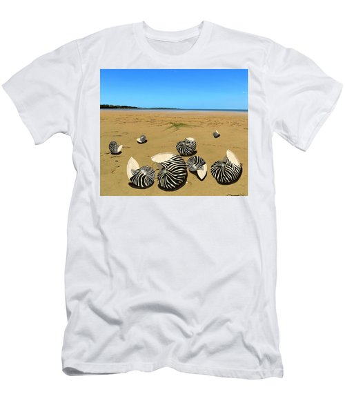 Men's T-Shirt (Athletic Fit) featuring the mixed media Zebra Nautilus Shells On The Beach  by Joan Stratton