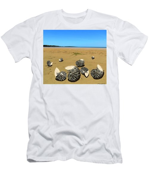 Zebra Nautilus Shells On The Beach  Men's T-Shirt (Athletic Fit)