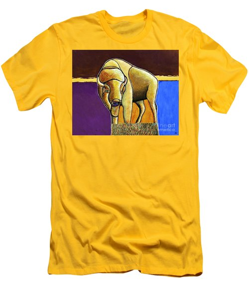 Men's T-Shirt (Slim Fit) featuring the painting Buffalo 1 by Joseph J Stevens