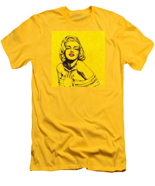 Men's T-Shirt (Slim Fit) featuring the drawing Marilyn In Yellow by Joseph Sonday