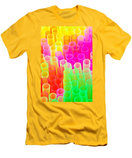 Abstract Drinking Straws #2 Men's T-Shirt (Slim Fit) by Meirion Matthias