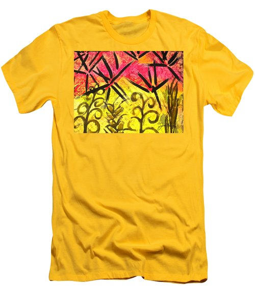 Men's T-Shirt (Slim Fit) featuring the painting Bamboo In The Wind by Joan Reese