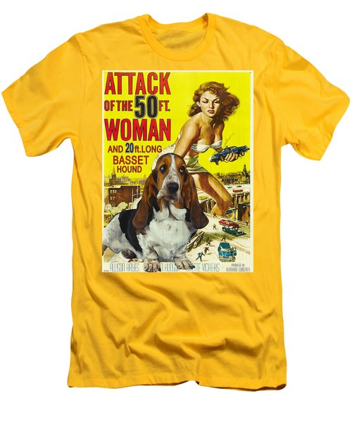 Basset Hound Art Canvas Print - Attack Of The 50ft Woman Movie Poster Men's T-Shirt (Athletic Fit)