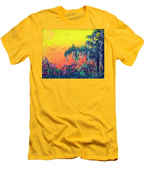 Men's T-Shirt (Slim Fit) featuring the painting Bayou Honeymoon by Alys Caviness-Gober