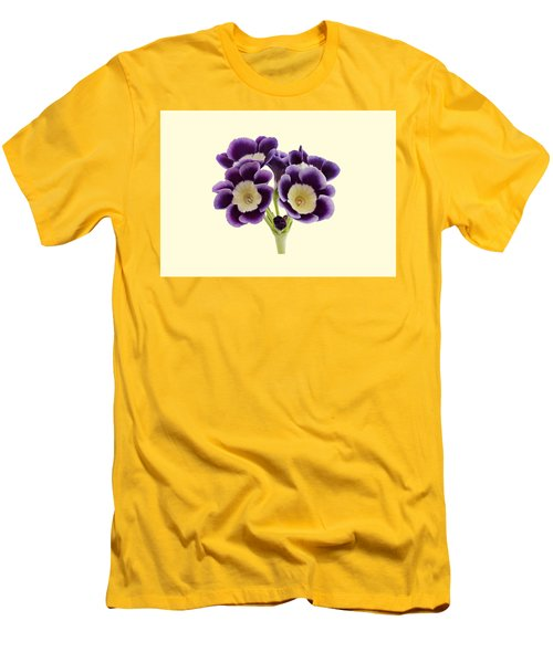 Men's T-Shirt (Slim Fit) featuring the photograph Blue Auricula On A Cream Background by Paul Gulliver