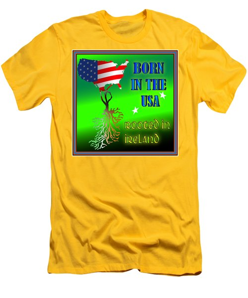 Born In The Usa Rooted In Ireland Men's T-Shirt (Slim Fit) by Ireland Calling