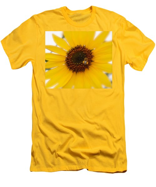 Men's T-Shirt (Slim Fit) featuring the photograph Vibrant Bright Yellow Sunflower With Honey Bee  by Jerry Cowart