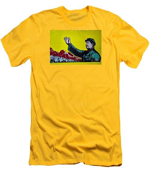 Chinese Communist Propaganda Poster Art With Mao Zedong Shanghai China Men's T-Shirt (Slim Fit) by Imran Ahmed