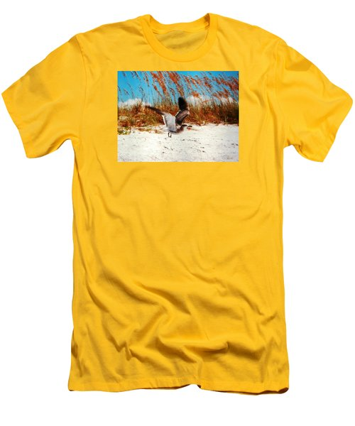 Men's T-Shirt (Slim Fit) featuring the photograph Windy Seagull Landing by Belinda Lee